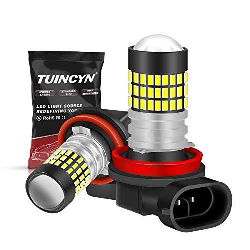 TUINCYN H11 H9 H8 Ampoule antibrouillard 3014 78SMD Super Bright 900 lumens Pour éclairage de jour DRL, 12V DC-24V, 4W, ampoule plug-and-play, 6500K blanc (pack de 2)