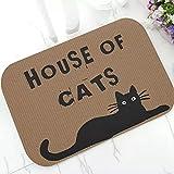 Alfombra de baño Felpudo alfombra Divertida casa de gatos gato negro gatito alfombra de goma para puerta Cool Kitty gato alfombra felpudo lavable Animal amante decoración del hogar regalo-60x90cm