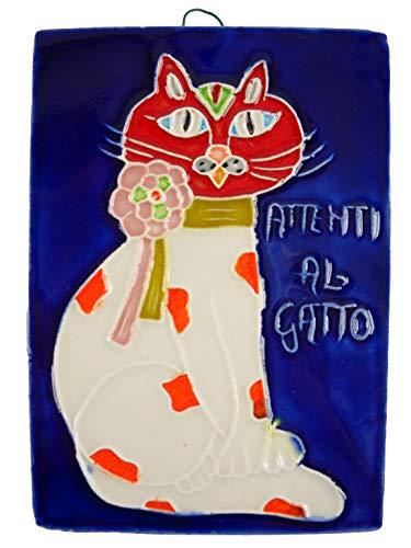 fd-bolletta arredamento e illuminazione Mattonella Ornamentale in Ceramica da Parete Colorata Mano attenti al Gatto Ma12 Misure: H 11cm, Larghezza 7,5cm, Spessore 0,8cm