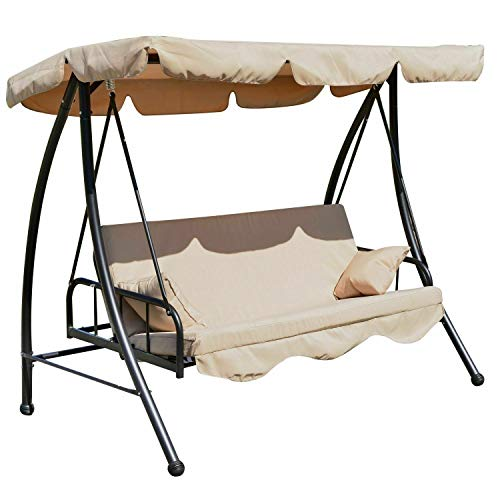 ADHW 2-in-1 Patio Swing Chair 3 Seater Hammock Cushion Bed Tilt Canopy Garden Lounger