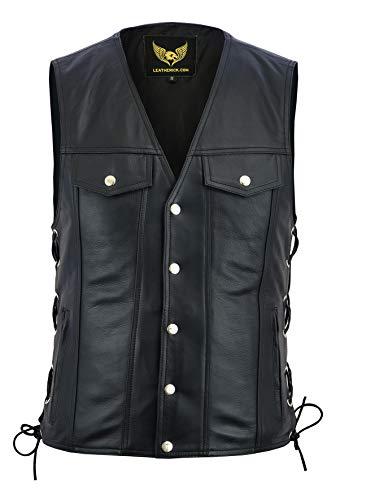 Leatherick Chaleco de motociclista de cuero auténtico unisex estilo denim con cordones laterales y botones cromados