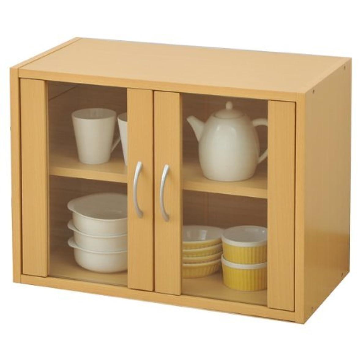 識字主婦補償山善(YAMAZEN) 食器棚ガラスキャビネット(幅60高さ45) ナチュラル CCB-4560(NB)