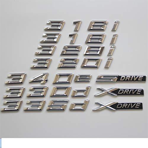Chrome Letters Trunk Emblem Emblems Badges for BMW F30 F35 F80 F31 320i 330i 340i 318i 316i 328i 335i 330d 335d 340e XDrive (316i)