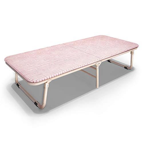Lit pliant simple Lit simple Bureau Lit Siesta Lit Chaise longue Chaise de repos Lit de camp Lit de camp portable (Couleur : Rose, taille : 60 cm)