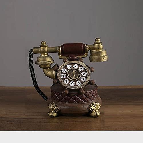 YXYSHX Modelo de teléfono móvil de Resina Retro nórdico con Estatua de Reloj decoración del hogar Estudio café Restaurante Tienda de Ropa Escultura decoración-Rojo