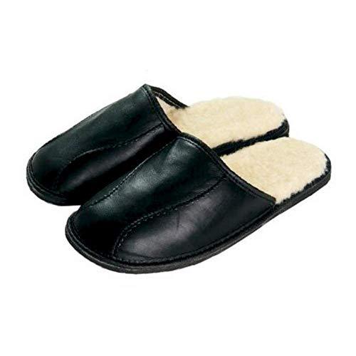 Schwarze Schaffell-Mann-Pantoffel-Wolle-materielle gesunde handgemachte Größen 40-46