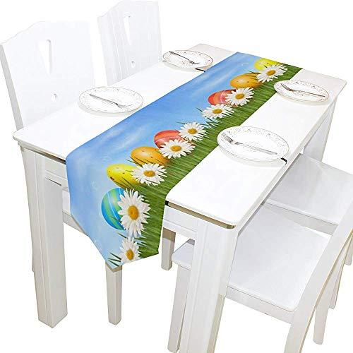 sunnee-shop tafelloper, paaseieren, kikkerkoning op gras, tafelkleed van stof