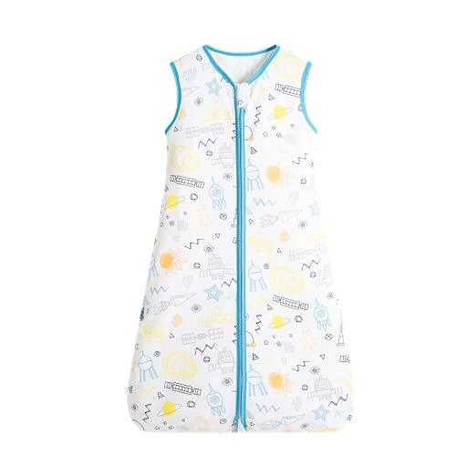 Taotigzu 0.5 Tog Sommerschlafsack Baby 100% Baumwolle Unisex ohne Ärmel Baby Schlafsack (L, Windmühle)