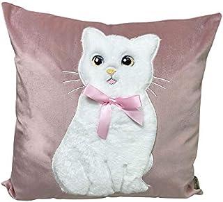 Angel's Pride 1 Funda de Almohada con Aspecto de Terciopelo Hecho a Mano, diseño de Gato, Decorativa, cojín de sofá, para resaurant Hotel 45 x 45 cm (Rosa)