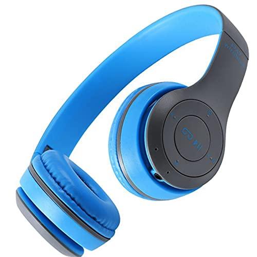 JIU SI Auriculares Inalámbricos 5.0 Auriculares Bluetooth Auriculares Música Música Estéreo Cascos Auriculares Gaming Plegable for Teléfono PC Tablet Regalo (Color : Azul)