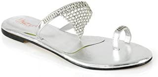 Unze Women Loose Diamante Chained Open Toe Summer Party, Evening, Wedding Slipper - Ab-3184
