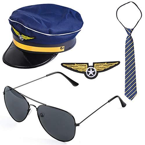 Beelittle Airline Pilot Captain Kostüm-Set Pilot Dress up Zubehör-Set mit Aviator-Sonnenbrille (C)