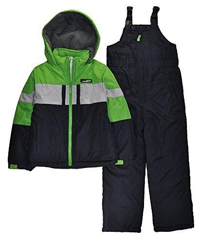 London Fog Big Boys' 2-Piece Colorblock Snow Bib and Jacket Snowsuit, Green 10/12