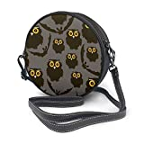 Bolso de hombro redondo de piel con diseño de búhos y murciélagos y murciélagos con correa ajustable para el hombro para mujer