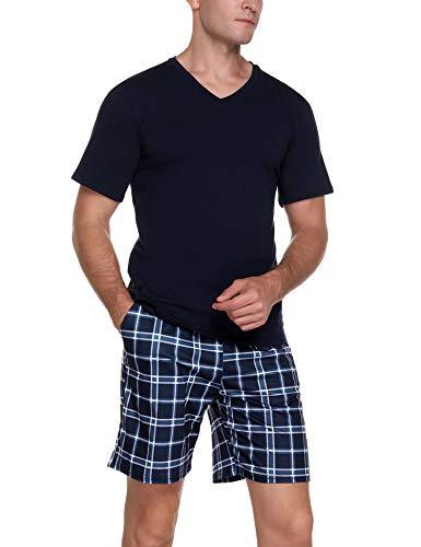 Akalnny Herren Schlafanzug Kurz Pyjama Set Sommer Zweiteiliger V Ausschnitt Baumwolle Nachtwäsche Kariert Shorty