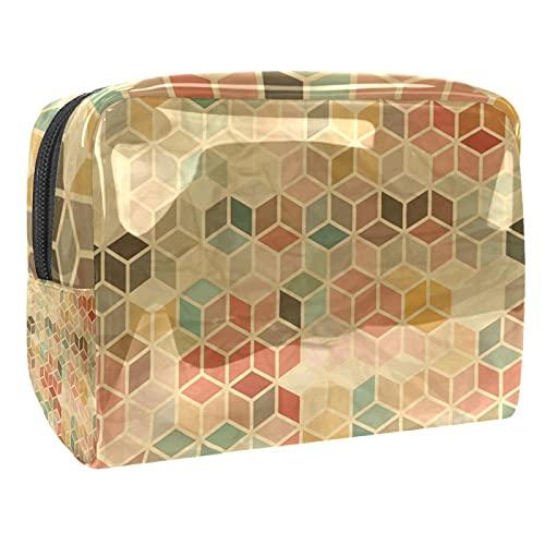 Bolsas de cosméticos impermeables, bolsas de cosméticos de viaje geométricas 3D, bolsas de maquillaje multifuncionales, organizador de bolsas de cosméticos de viaje para mujeres