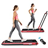 Goplus 2 in 1 Folding Treadmill, 2.25HP Under Desk Electric Treadmill, Installation-Free, with Remote Control, Bluetooth Speaker and LED Display, Walking Jogging Machine for Home/Office Use (Red)