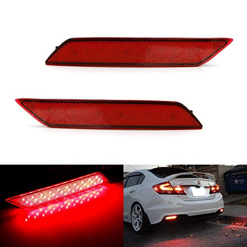 iJDMTOY Red Lens 60-SMD LED Bumper Reflector Lights Compatible With 2013-2015 Honda Civic Sedan, Function as Tail, Brake & Rear Fog Lamps