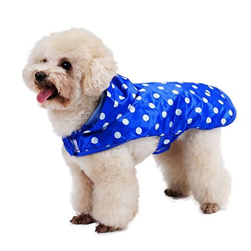 GCSEY Speedy huisdier hond regenjas capuchon regenjas, hond schattige stippen patroon regen poncho jas outdoor waterdichte kleding kleding met draagbare verpakking zakken