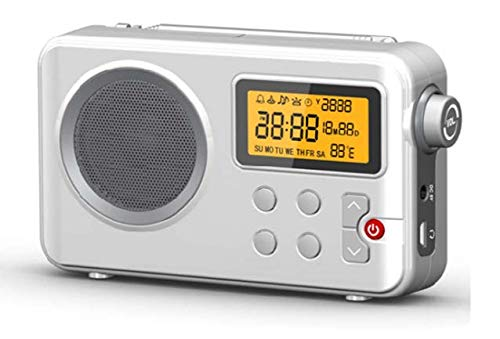 Radio NK-AB1904 FM / AM - Radio Portátil de Sobremesa, Pantalla LCD con Luz, Antena, Altavoz, 4 Pilas AA, cable DC5V, Blanca (Función Radio Despertador)