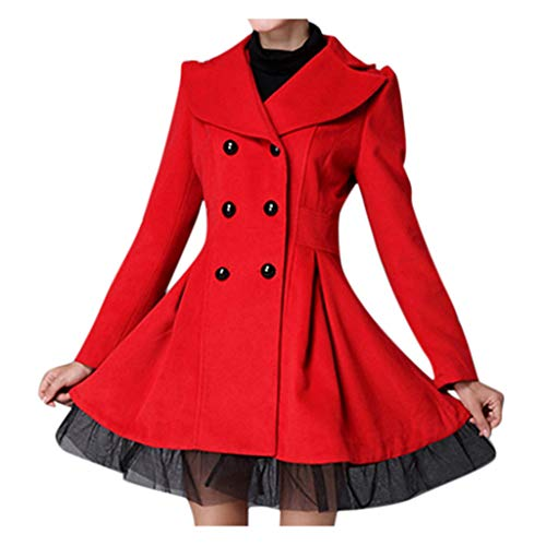 Cardigo Women Flare Double Breasted Trench Jacket Ladies Long Lapel Outwear Peacoat Coat Red
