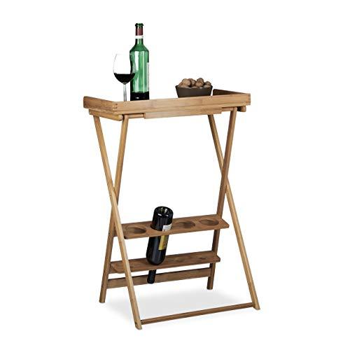 Relaxdays, Marrón, 80 x 58 x 27,5 cm botellero Vino con Mesa Plegable para 4 Botellas y 4 Copas, bambú