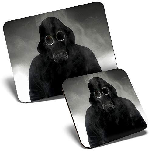Juego de alfombrilla de ratn y posavasos, mscara de gas Toxic Man Chernobyl 23,5 x 19,6 cm y 9 x 9 cm para ordenador y porttil, oficina, regalo, base antideslizante #14546