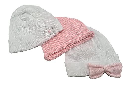 Gorro de bebé de algodón fabricado en Italia   Gorro de nacimiento de hospital   Trío gorro de bebé niña 0 – 3 meses   2 variantes Var. 1 0-3 Meses