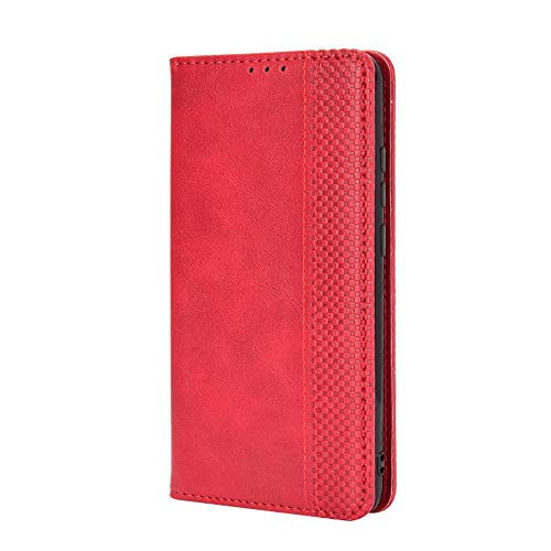 JIUNINE Case for Samsung Galaxy Xcover Pro, Premium PU Artificial Leather Wallet Case Flip Cover with [Card Holder] [Magnetic Closure] [Bracket function] for Samsung Galaxy Xcover Pro, Red