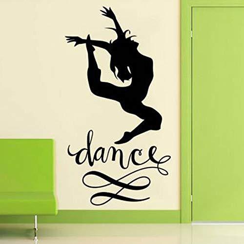 Tianpengyuanshuai Tanz Akrobatik Gymnastik Mädchen Silhouette Vinyl Wandaufkleber Tanz Aufkleber Abnehmbares Wandbild 42X35cm
