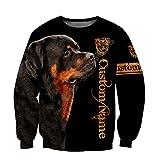 Hermosa Rottweiler Perro Negro 3D Impreso Hoodie, Unisex Sudadera Zip Pullover Casual Chándal Sudadera Hombre, Sudadera, XXXL