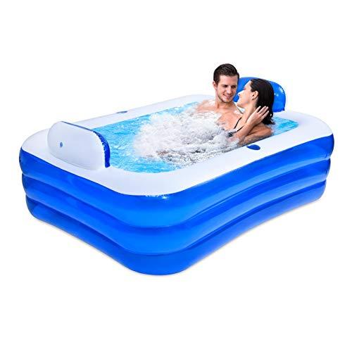 MEYENG Piscina hinchable rectangular Family de PVC grueso, apta para 2 niños, para exterior e interior, piscina exterior rectangular, 180 x 140 x 60 cm