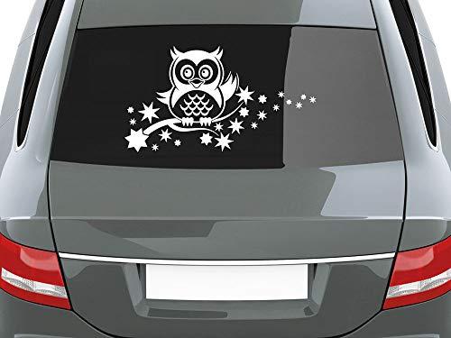 GRAZDesign Auto Klebefolie Eule auf AST, Car Styling Aufkleber mit Sternen, Aufkleber Heckscheibe für Frauen / 39x70cm / 010 Weiss