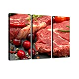 BELISIIS raw Rib Eye Steak with Spices and Vegetables Ingredients for Wall Artwork Exclusive Photography Vintage Paintings Print on Canvas Home Decor Wall Art 3 Panels Framed Ready to Hang
