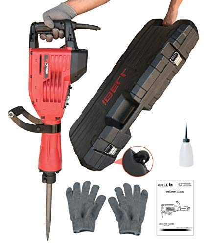 iBELL 1500W Heavy Duty Concrete Breaker Electric Demolition Hammer- Jack Hammer Demolition Drills with all Accessories
