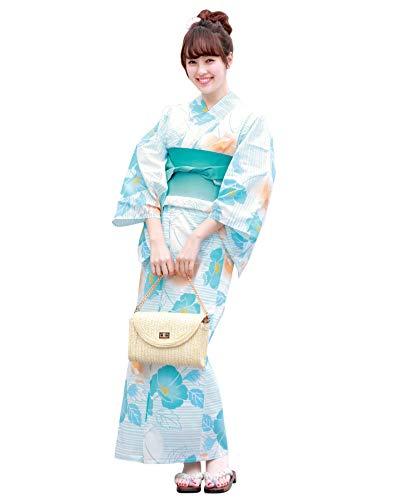 (ソウビエン) 浴衣 レディース セット 15タイプから浴衣が選べる 浴衣3点セット fb05 B05 水色×縞と花柄
