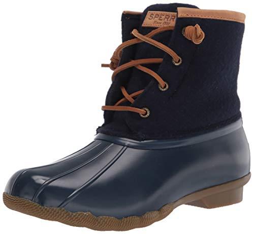 Sperry Women's Saltwater Emboss Wool Rain Boot, Navy, 5.5