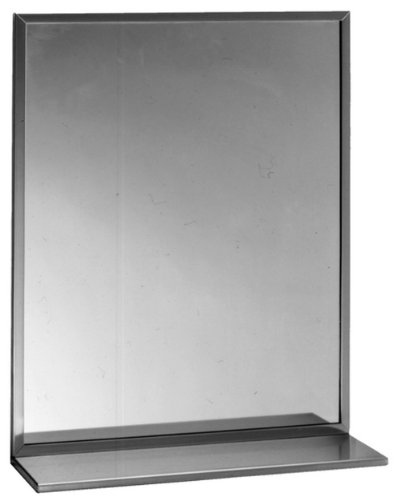 Bobrick 166 Series 430 Stainless Steel Channel Frame Glass Mirror with Shelf, -