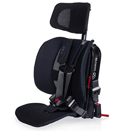WAYB Pico Travel Car Seat, Black | Portable and Foldable | Forward-Facing Convertible Car Seat | Toddler Car Seat | 5-Point Harness | Everyday, Carpool, Rideshare and Airplane