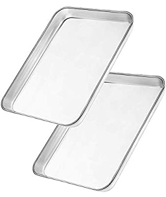 Bangder Heavy Duty Stainless Steel Sheet Pan Easily Wipes Clean! Baking Sheet Pan for Toaster Oven, Mirror Finish & Rust Free, Dishwasher Safe,Set of 2