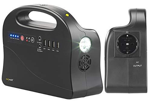 reVolt Solar Powerbank 230V: Powerbank & Solar-Konverter, 26,4 Ah / 97 Wh, 12/230 V, USB, 120 Watt (Powerbank mit 230V Steckdose)