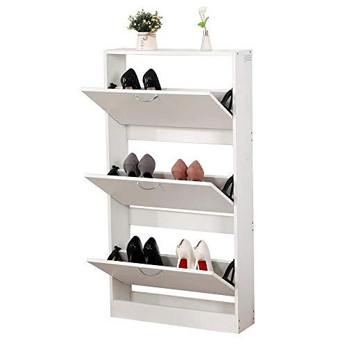Zapatero blanco de 3 puertas, tablero de fibra de densidad media (DM), organizador de zapatos, 63 x 17 x 120 cm, moderno, ahorra espacio