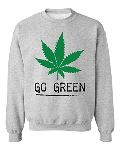 Brenos Design Go Green Ganja Marijuana Cannabis Weed Leaf 420 Unisexe Sweat-Shirt Pull-Over XX-Large