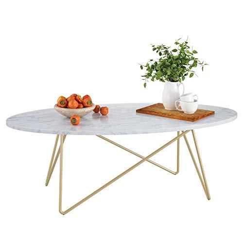 Homfa Couchtisch Beistelltisch Marmor Optik Kaffetisch Weiß Oval Gold ausMetallundHolz 120x60x41cm