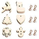 60 piezas de adornos de madera para árbol de Navidad, adorno colgante, colgante de viruta de madera para bricolaje con 60 piezas de cuerda, campana de copo de nieve, renos, adornos artesanales para de