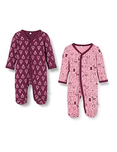 Pippi 2er Pack Kinder Mädchen Schlafstrampler mit Aufdruck, Langarm mit Füßen, Alter 2-3 Jahre, Größe: 98, Farbe: Lila, 3821