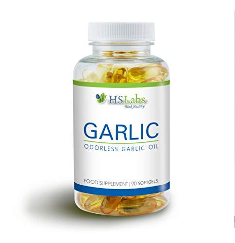 HSLabs Knoblauch Entspricht 2000 mg Allicin 50% Knoblauchzehen in Jeder Tageskapsel 90 Öl Kapseln Garlic Oil 500:1 Knoblauchextrakt Hochdosierter Geruchsloser Immunsystem 45 Portionen Odorless
