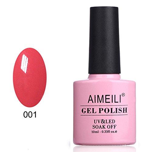 AIMEILI Smalto Semipermente per Unghie in Gel UV LED Smalti per Unghie Colori per Manicure Rosso - Tropix Tropical Punch (001) 10ml