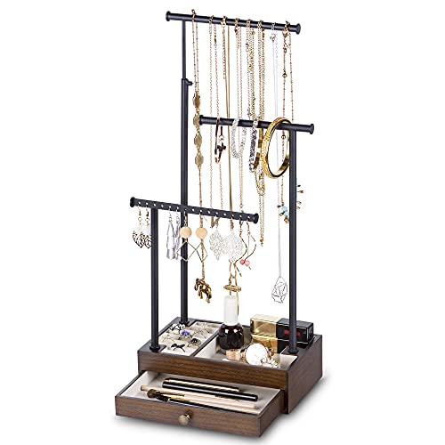 Love-KANKEI Necklace Holder Jewelry Tree Stand Adjustable Height with Large Storage for Necklaces Bracelets Earring Rings Drawber Jewelry Organizer Jewelry Display Walnut and Black