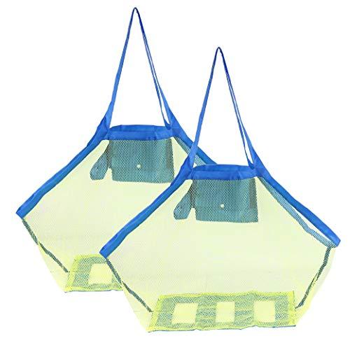 HONGXIN-SHOP Maglia Borsa da Spiaggia in Rete Grande Portatile Borsa Sacchetto Rete Pieghevole Leggero Borsa di Stoccaggio per Riporvi Spiaggia Giocattoli da Bambino (Verde Rete) 2 Pezzi